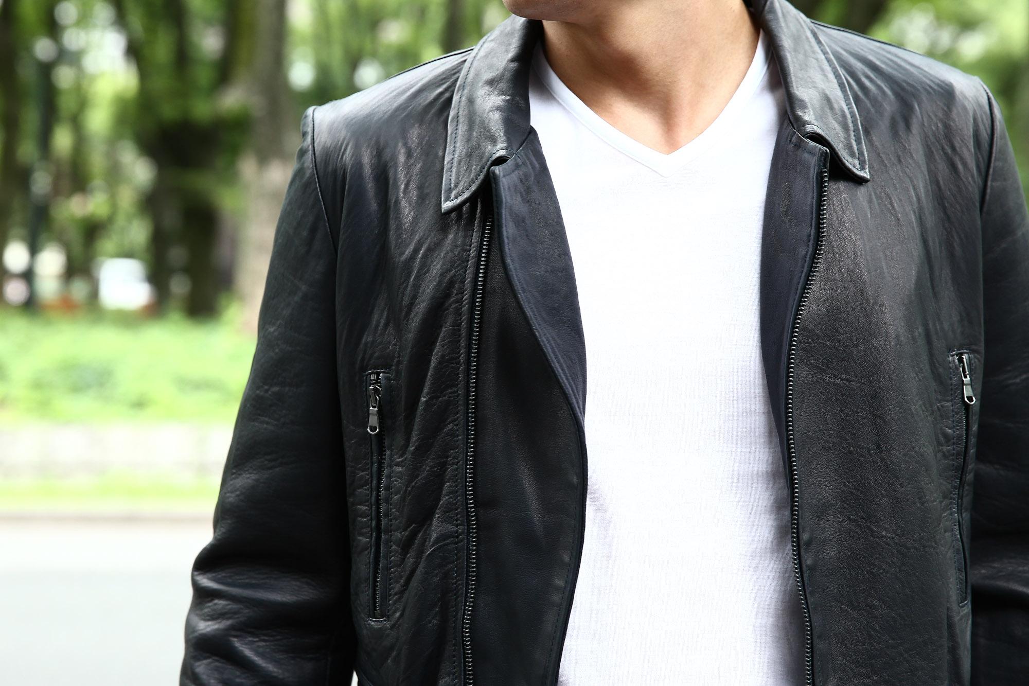 Radice(ラディーチェ) 1012 Lamb Napa(ラムナッパ) Leather Jacket ダブルライダース レザージャケット NAVY(ネイビー) MADE IN ITALY イタリア製 ダブルライダース ラムナッパレザー 愛知 名古屋 ZODIAC ゾディアック セレクトショップ モデル着用 Zanone アイスコットン Tシャツ Vネック