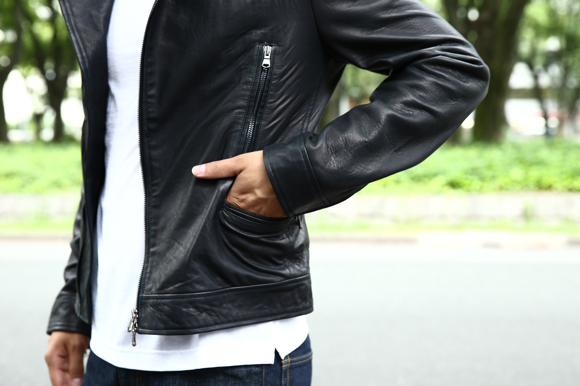 Radice(ラディーチェ) 1012 Lamb Napa(ラムナッパ) Leather Jacket ダブルライダース レザージャケット NAVY(ネイビー) MADE IN ITALY イタリア製 ダブルライダース ラムナッパレザー 愛知 名古屋 ZODIAC ゾディアック セレクトショップ モデル着用 ザノーネ インコテックススラックス エンツォボナフェ