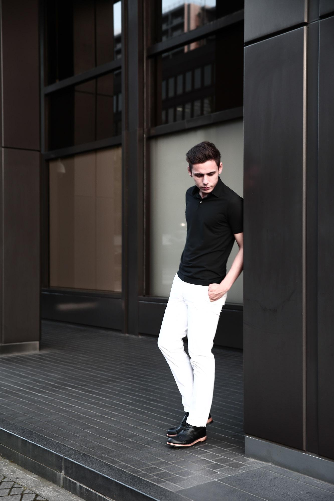 ZANONE ザノーネ 811818 Polo Shirt Ice Cotton アイスコットン ポロシャツ BLACK ブラック INCOTEX SLACKS (インコテックススラックス) 1ST603 SLIM FIT GARMENT DYED H.COMF.GABARDINE ガーメントダイ ストレッチ チノパンツ WHITE