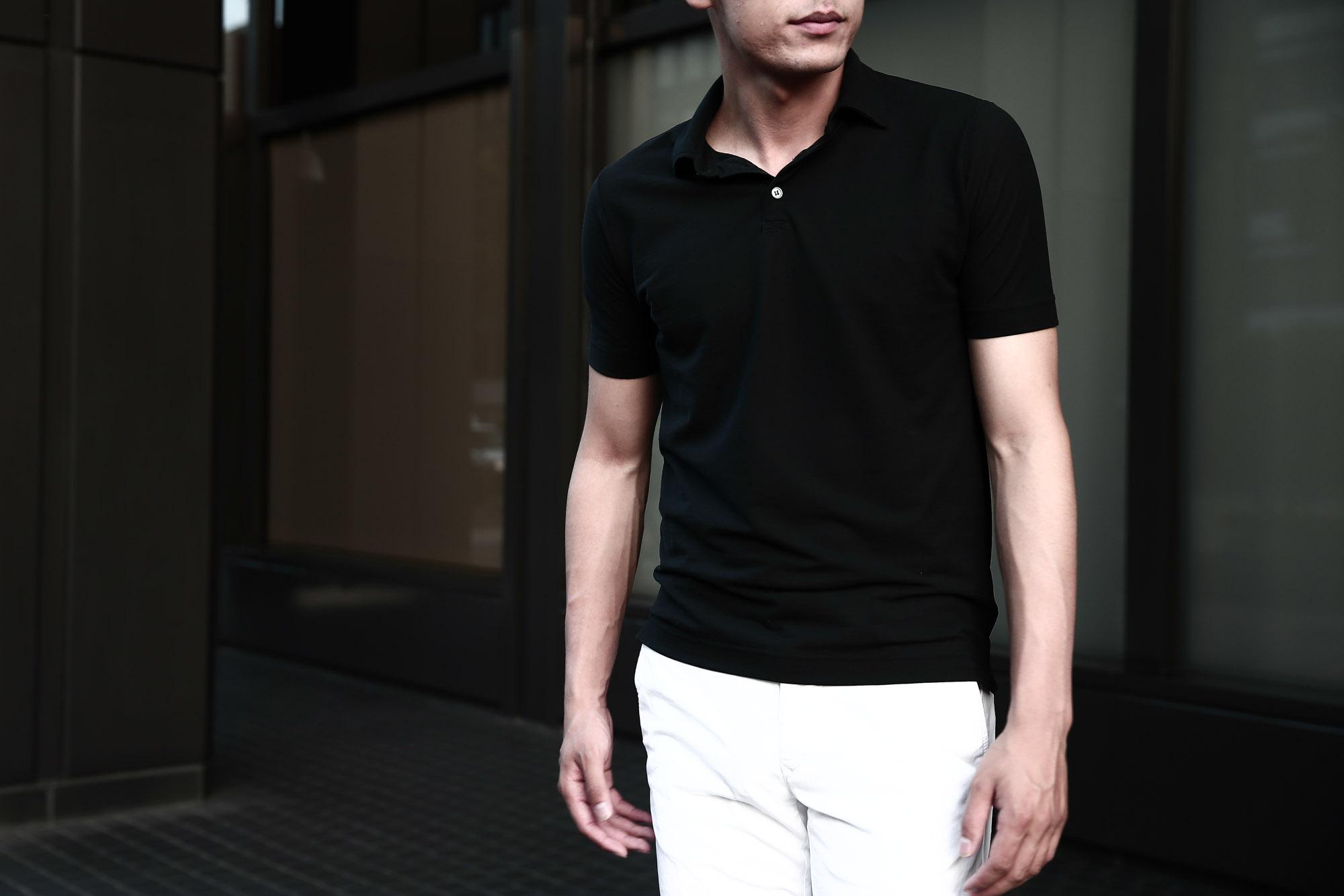 ZANONE ザノーネ 811818 Polo Shirt Ice Cotton アイスコットン ポロシャツ BLACK ブラック INCOTEX SLACKS (インコテックススラックス) 1ST603 SLIM FIT GARMENT DYED H.COMF.GABARDINE ガーメントダイ ストレッチ チノパンツ WHITE (ホワイト・001)