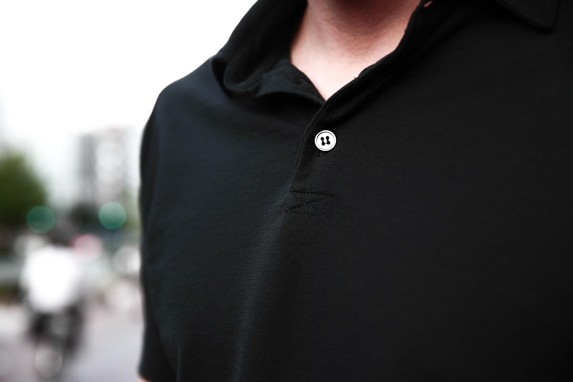 ZANONE ザノーネ 811818 Polo Shirt Ice Cotton アイスコットン ポロシャツ BLACK ブラックINCOTEX SLACKS (インコテックススラックス) 1ST603 SLIM FIT GARMENT DYED H.COMF.GABARDINE ガーメントダイ ストレッチ チノパンツ WHITE (ホワイト・001)