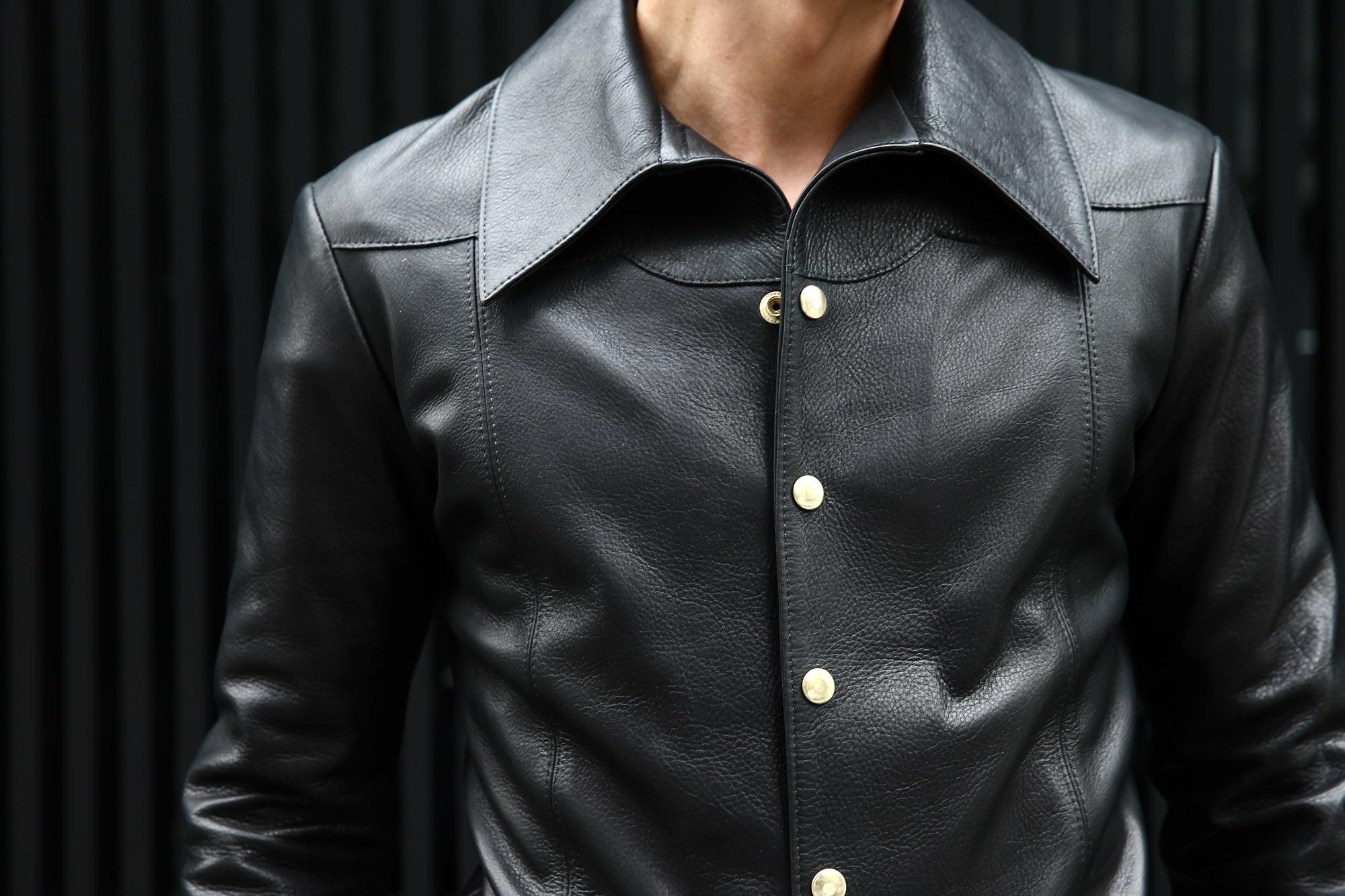South Paradiso Leather(サウスパラディソレザー) East West(イーストウエスト) ILLUMINATI RAINBOW SHIRTS(イルミナティレインボーシャツ) レザーシャツ BLACK(ブラック) バックスタイル画像。 襟アップ画像。