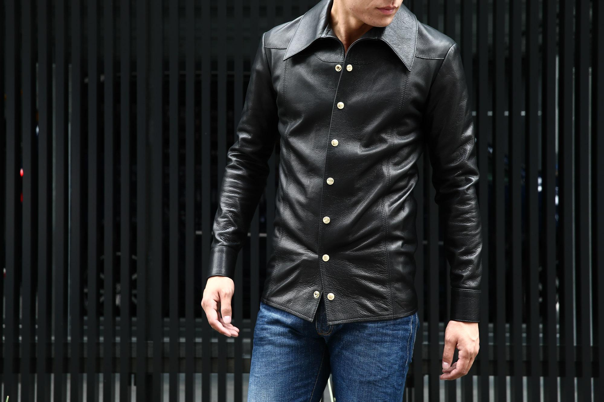 South Paradiso Leather(サウスパラディソレザー) East West(イーストウエスト) ILLUMINATI RAINBOW SHIRTS(イルミナティレインボーシャツ) レザーシャツ BLACK(ブラック) バックスタイル画像。
