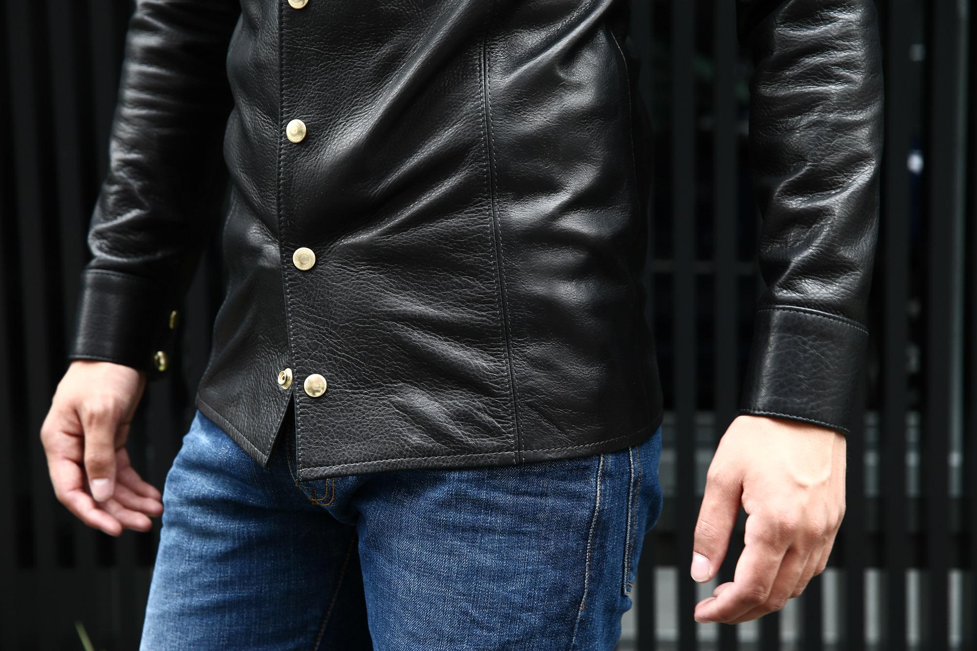 South Paradiso Leather(サウスパラディソレザー) East West(イーストウエスト) ILLUMINATI RAINBOW SHIRTS(イルミナティレインボーシャツ) レザーシャツ BLACK(ブラック) バックスタイル画像。袖アップ画像。