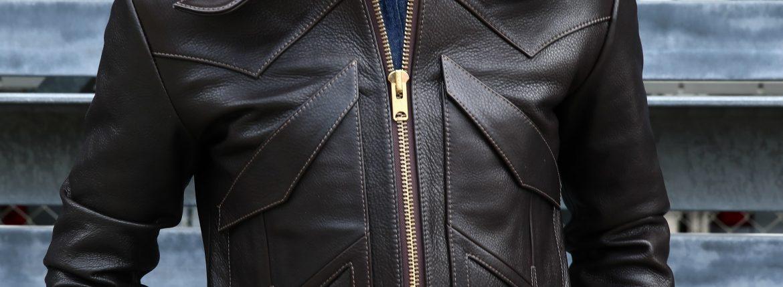 South Paradiso Leather(サウスパラディソレザー) East West(イーストウエスト) WINCHESTER(ウィンチェスター) Cow Hide Leather カウハイドレザー レザージャケット DARK BROWN(ダークブラウン)のイメージ