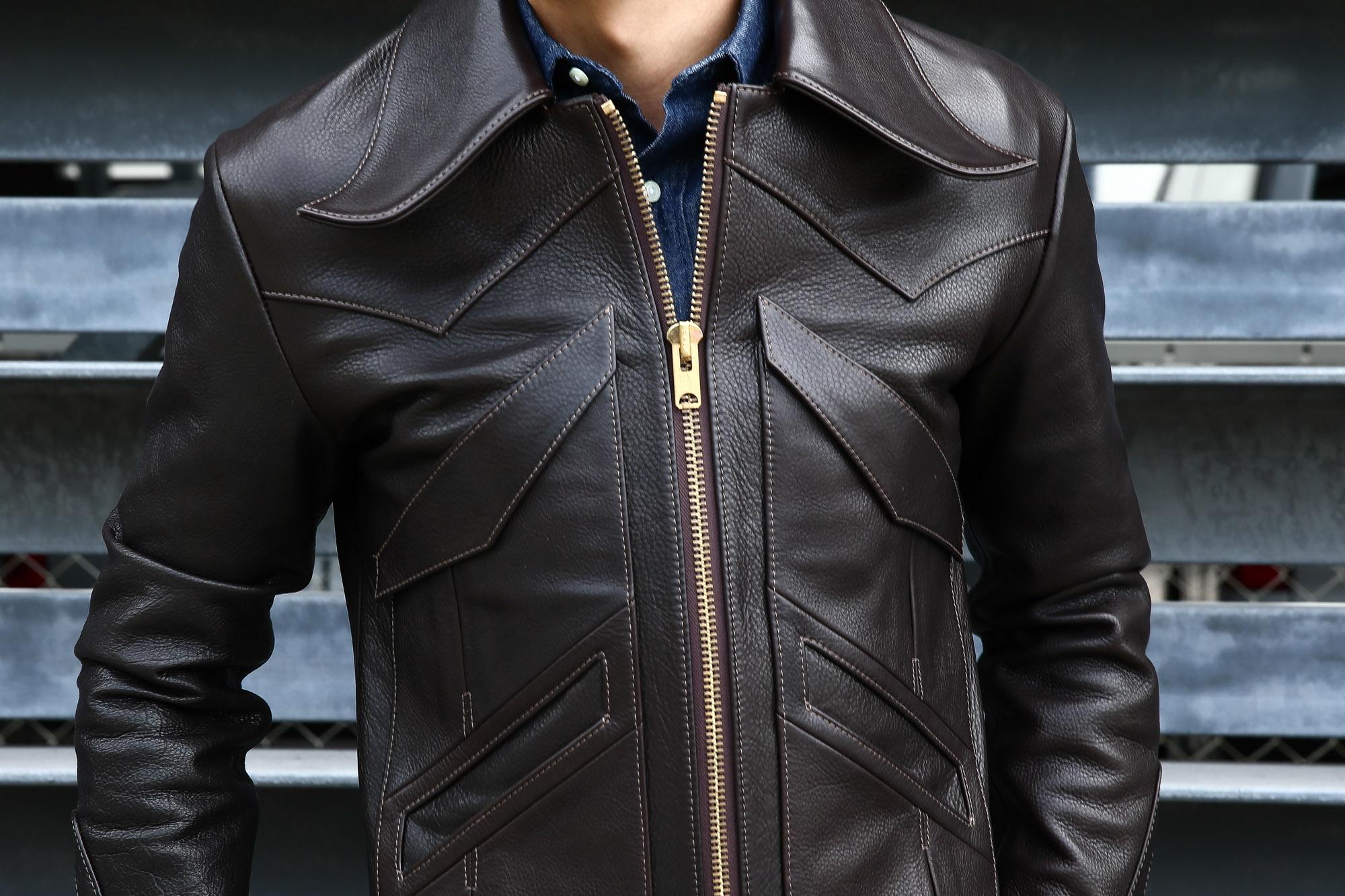 South Paradiso Leather(サウスパラディソレザー) East West(イーストウエスト) WINCHESTER(ウィンチェスター) Cow Hide Leather カウハイドレザー レザージャケット DARK BROWN(ダークブラウン) MADE IN USA(アメリカ製) のコーディネート画像。パラディソ 取扱い 愛知 名古屋 ZODIAC デニムシャツとの相性抜群