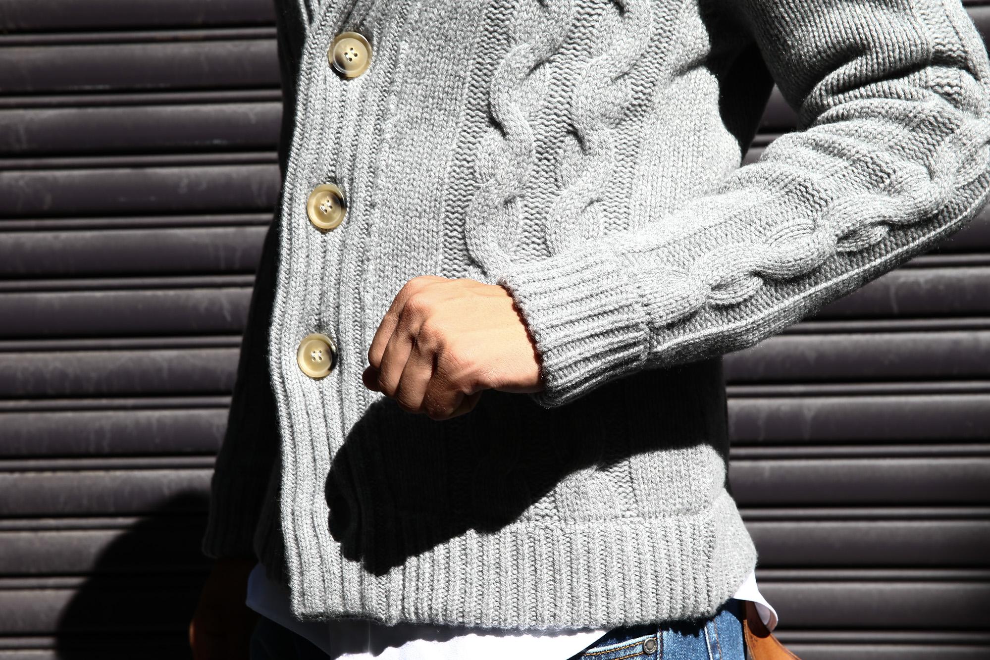 Settefili Cashmere (セッテフィーリ カシミア) Shawl Collar Cardigan (ショールカラーカーディガン) ローゲージ ニット カーディガン GREY (グレー・MC009) made in italy (イタリア製) 2016 秋冬新作 ZODIAC 愛知 名古屋