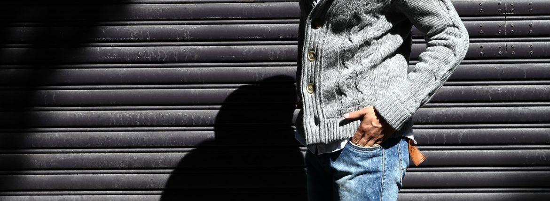 Settefili Cashmere (セッテフィーリ カシミア) Shawl Collar Cardigan (ショールカラーカーディガン) ローゲージ ニット カーディガン GREY (グレー・MC009) made in italy (イタリア製) 2016 秋冬新作のイメージ