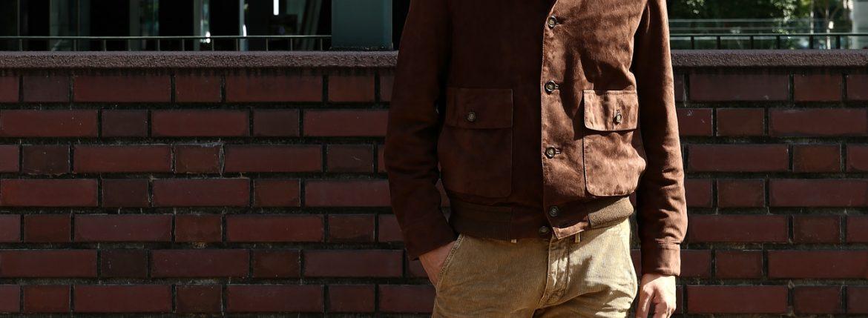 CINQUANTA (チンクアンタ) 6328 BLOUSON VERA PELLE 100% A-1 フライトジャケット バルスター ヴァルスター スエードブルゾン レザージャケット BROWN (ブラウン) Made in italy (イタリア製) 2016 秋冬新作のイメージ