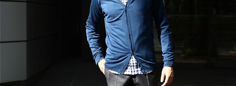 JOHN SMEDLEY (ジョンスメドレー) BRYN V-NECK CARDIGAN EASY FIT メリノウール100% ハイゲージニット Vネックカーディガン INDIGO (インディゴ) MADE IN GREAT BRITAIN(イギリス製) 2016 秋冬新作のイメージ