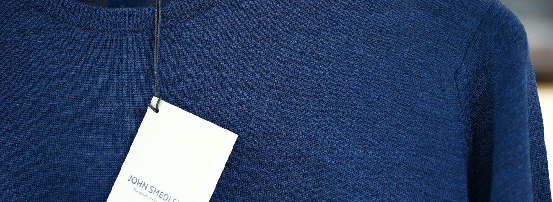 JOHN SMEDLEY (ジョンスメドレー) CLEVES SLIM FIT メリノウール100% ハイゲージニット クルーネックセーター INDIGO (インディゴ) MADE IN GREAT BRITAIN(イギリス製) 2016 秋冬新作のイメージ