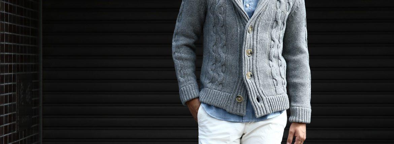 Settefili Cashmere (セッテフィーリ カシミア) Shawl Collar Cardigan ウールカシミア ローゲージニット ショールカラーカーディガン GREY (グレー・MC009) made in italy (イタリア製) 2016 秋冬新作のイメージ