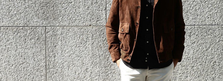 CINQUANTA (チンクアンタ) 6328 BLOUSON VERA PELLE 100% A-1 フライトジャケット スエードブルゾン ヴァルスター バルスターブルゾン レザージャケット BROWN (ブラウン) Made in italy (イタリア製) 2016 秋冬新作のイメージ