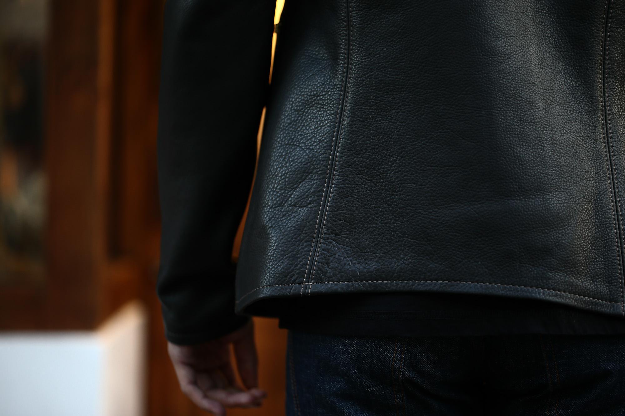 サウスパラディソレザー(South Paradiso Leather) スモーク SMOKE イーストウエスト East West カウハイドレザー Cow Hide Leather レザージャケット BLACK (ブラック) MADE IN USA (アメリカ製) のコーディネート画像。愛知 名古屋 ZODIAC ゾディアック パラディソ イーストウエスト スモーク ヴィンテージ アドラー アードラー ウィンチェスター イルミナティレインボーシャツ レザー 革ジャン