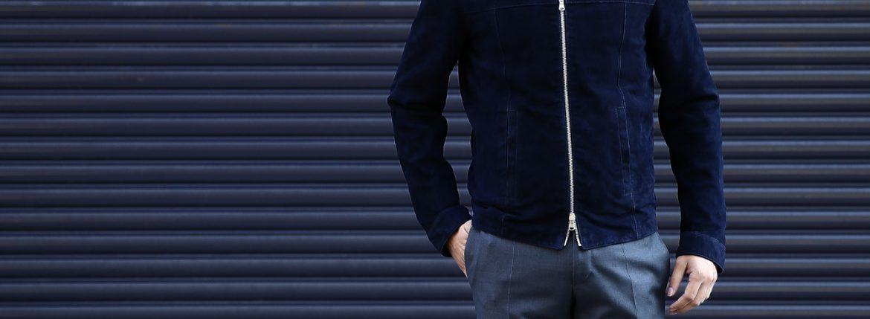 Radice (ラディーチェ) 1008 Suede Leather Jacket Suede Lamb Nappa スエードラムナッパ SLIM FIT スリムフィット シングルレザージャケット NAVY (ネイビー) MADE IN ITALY(イタリア製)  2016 秋冬新作のイメージ