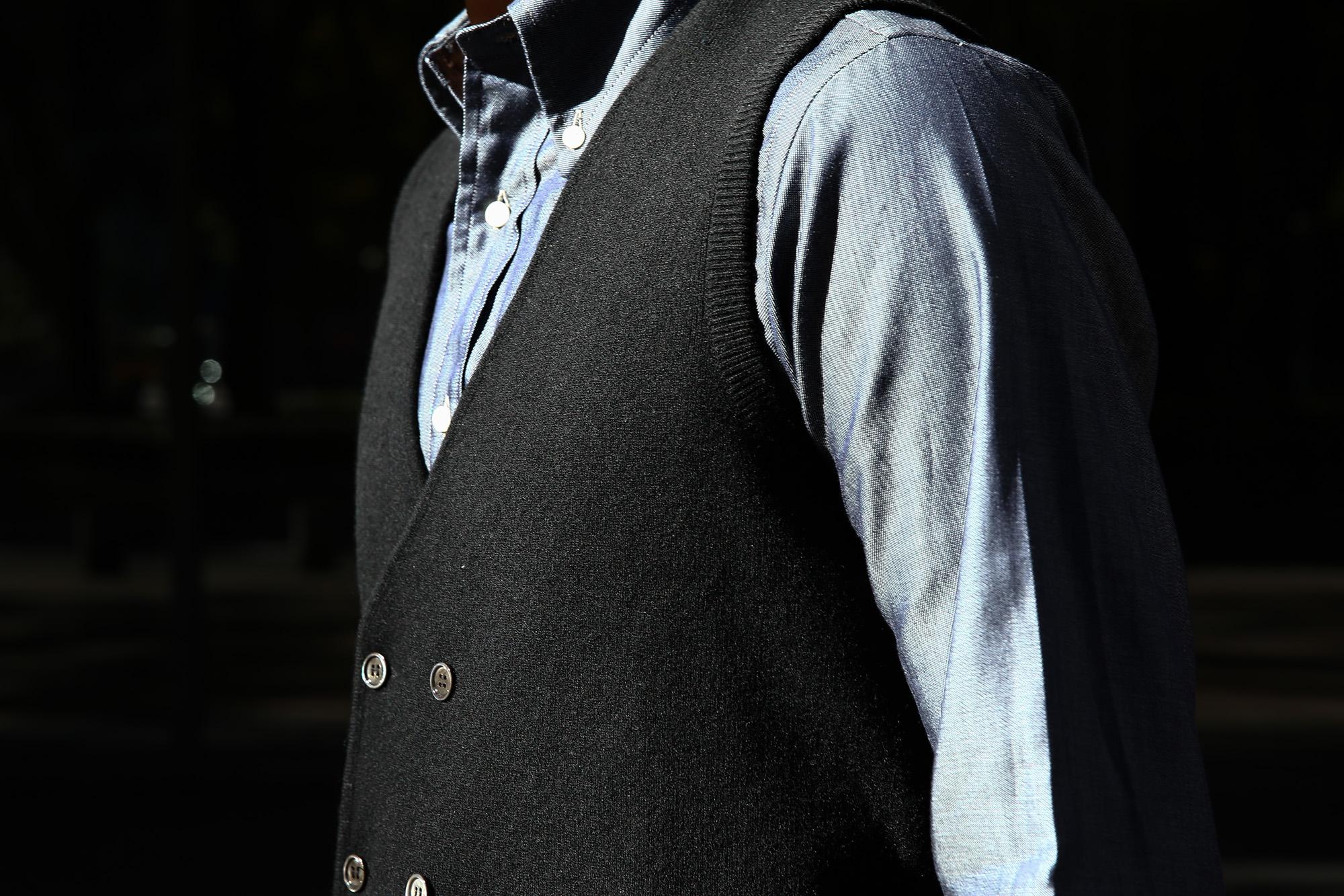 Settefili Cashmere (セッテフィーリ カシミア) Gilet con bottoni (ニットダブルベスト) ウールカシミア ハイゲージ ニットベスト ニットジレBLACK (ブラック・MC005) made in italy (イタリア製) 2016 秋冬新作 44,46,48,50,52 愛知 名古屋 ZODIAC ゾディアック セッテフィーリ セッテフィーリカシミア
