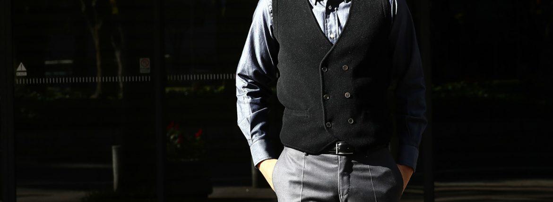 Settefili Cashmere (セッテフィーリ カシミア) Gilet con bottoni (ニットダブルベスト) ウールカシミア ハイゲージ ニットベスト ニットジレBLACK (ブラック・MC005) made in italy (イタリア製) 2016 秋冬新作のイメージ