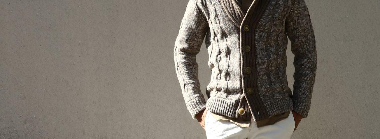Settefili Cashmere (セッテフィーリ カシミア) Shawl Collar Cardigan (ショールカラーカーディガン) メランジ ウール カシミア ローゲージニットカーディガン ショールカラーカーディガン GREGE (グレージュ・CM01) made in italy (イタリア製) 2016 秋冬新作のイメージ