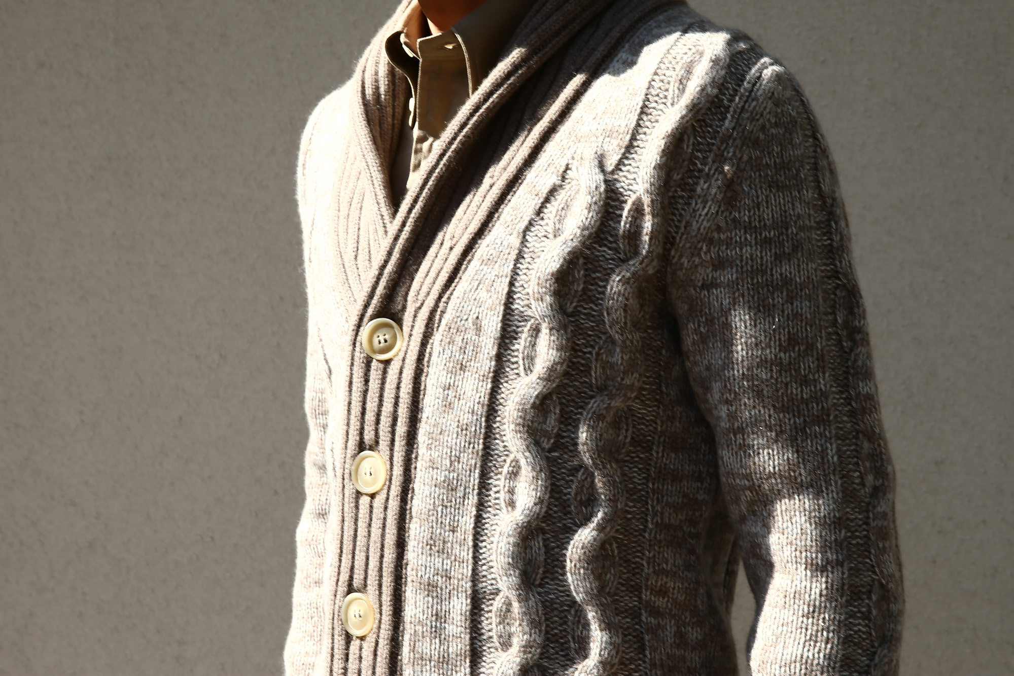 Settefili Cashmere (セッテフィーリ カシミア) Shawl Collar Cardigan (ショールカラーカーディガン) メランジ ウール カシミア ローゲージニットカーディガン ショールカラーカーディガン GREGE (グレージュ・CM01) made in italy (イタリア製) 2016 秋冬新作 愛知 名古屋 Alto e Diritto アルト エ デリット ショールカラー セッテフィーリカシミア
