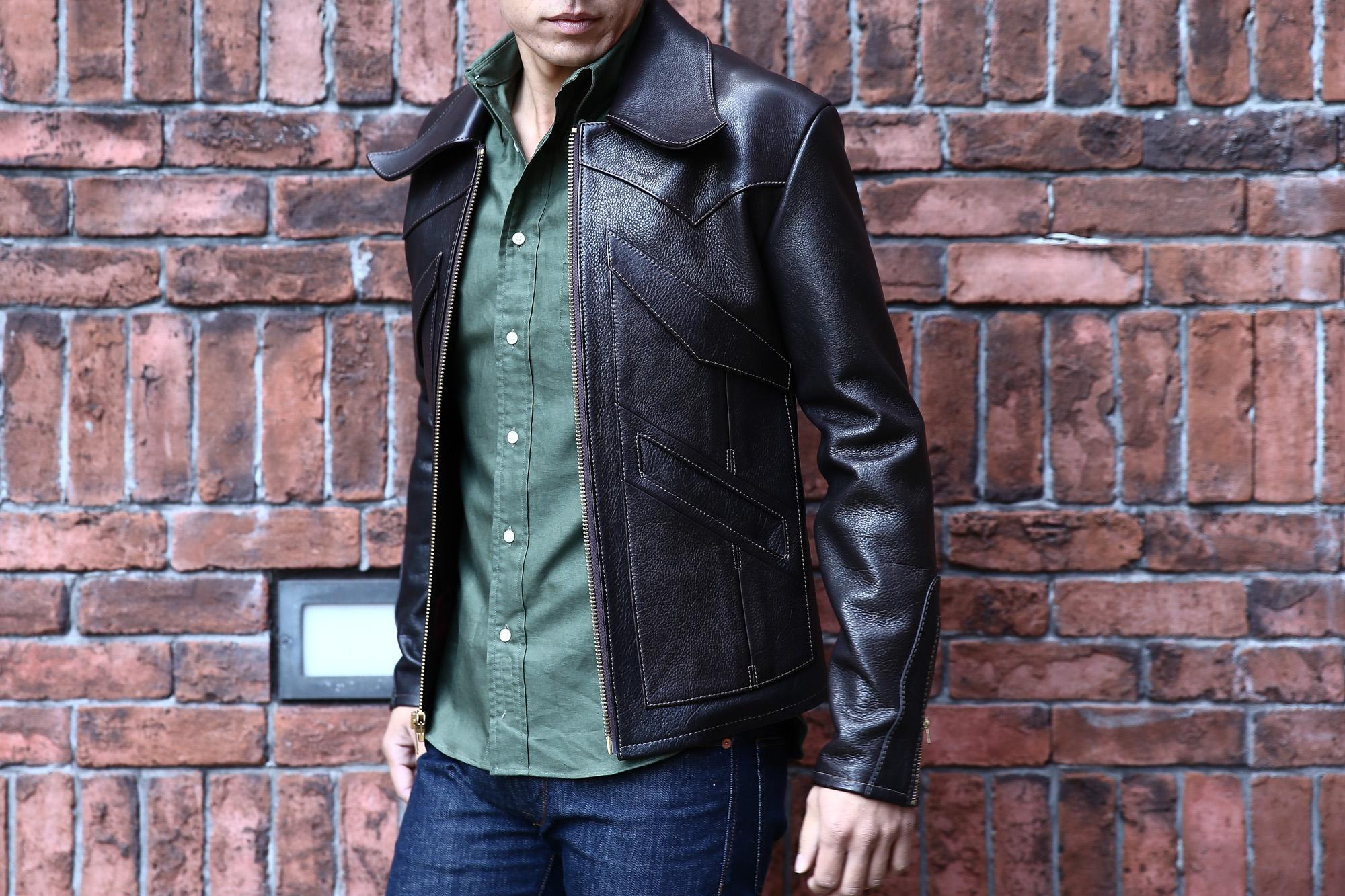 South Paradiso Leather(サウスパラディソレザー) East West イーストウエスト WINCHESTER ウィンチェスター Cow Hide Leather カウハイドレザー レザージャケット DARK BROWN(ダークブラウン) MADE IN USA(アメリカ製) のコーディネート画像、愛知 名古屋 ZOIDAC ゾディアック サウスパラディソ パラディソ レザー ヴィンテージ ビンテージ