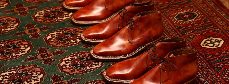 ENZO BONAFE (エンツォボナフェ) ART.3722 Chukka boots チャッカブーツ Bonaudo Museum Calf Leather ボナウド社 ミュージアムカーフレザー ノルベジェーゼ製法 レザーソール チャッカブーツ NEW GOLD (ニューゴールド) made in Italy(イタリア製) 2017 春夏新作のイメージ