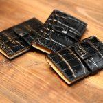 J&M DAVIDSON (ジェイアンドエムデヴィッドソン) VISIT CARD HOLDER (ヴィジット カード ホルダー) 7528 MOCK CROC (クロコダイル型押し) カードケース BLACK (ブラック・999) Made in spain (スペイン製) 2017 春夏新作のイメージ