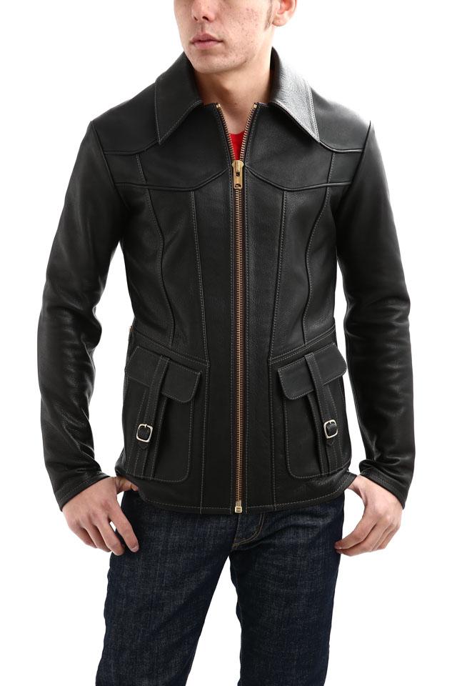 【South Paradiso Leather / サウスパラディソレザー】 East West イーストウエスト SMOKE(スモーク) Cow Hide Leather カウハイドレザー レザージャケット BLACK (ブラック) MADE IN USA (アメリカ製)