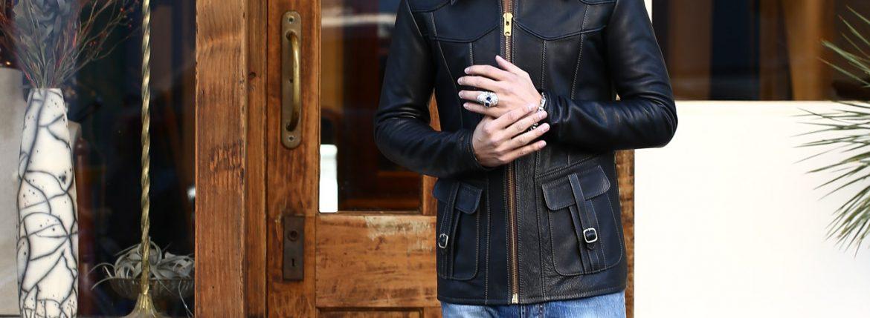 South Paradiso Leather (サウスパラディソレザー) East West イーストウエスト SMOKE スモーク Cow Hide Leather Black カウハイドレザー レザージャケット BLACK (ブラック) MADE IN USA (アメリカ製)のイメージ