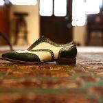 ENZO BONAFE (エンツォボナフェ) 【ART.EB-15】Wing Tip Shoes ウィングチップシューズ ボックスカーフ×キャンバス 2tone 2トーン ドレスシューズ VERDE×BIANCO(グリーン×ホワイト) made in italy (イタリア製)のイメージ