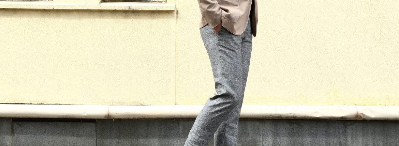 【INCOTEX / インコテックス】 1NT035 N35型 SLIM FIT スリムフィット ICE DONEGAL リネンシルク アイスドニゴール スラックス GRAY (グレー・910) 2017 春夏新作のイメージ