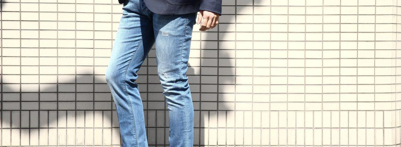 RICHARD J. BROWN (リチャード ジェイ ブラウン) TOKIO トウキョウ ボタンフライ ダメージ加工 テーパードシルエット ストレッチジーンズ デニムパンツ BLUE (ブルー・T41 W505) MADE IN ITALY (イタリア製) 2017 春夏新作のイメージ