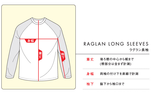 ラグラン長袖のサイズ