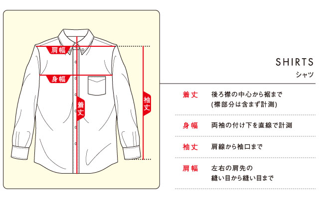 シャツのサイズ