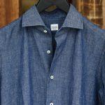 ALESSANDRO GHERARDI (アレッサンドロゲラルディ) Chambray Shirts カッタウェイ コットンリネン シャンブレーシャツ NAVY (ネイビー・690) made in italy(イタリア製) 2017春夏新作のイメージ
