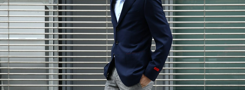 【ISAIA // イザイア】 【SAILOR / セイラー】 130'S AQUA BLAZER FABRIC (Wool 100%,LINING Cupro 100%) ウール ホップサック アンコン 3Bジャケット NAVY (ネイビー・800) Made in italy (イタリア製) 2017 春夏新作のイメージ