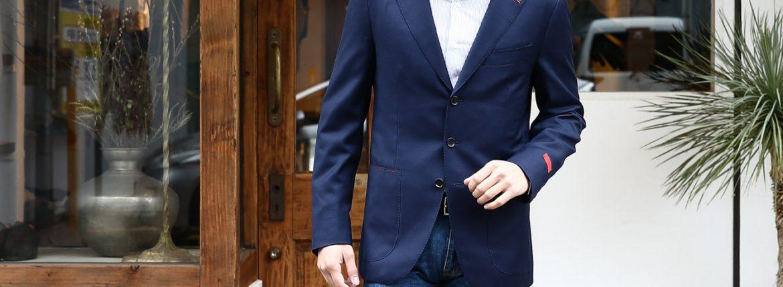 ISAIA (イザイア) 【SAILOR / セイラー】 130'S AQUA BLAZER FABRIC (Wool 100%,LINING Cupro 100%) ウール ホップサック アンコン 3Bジャケット NAVY (ネイビー・800) Made in italy (イタリア製) 2017 春夏新作のイメージ