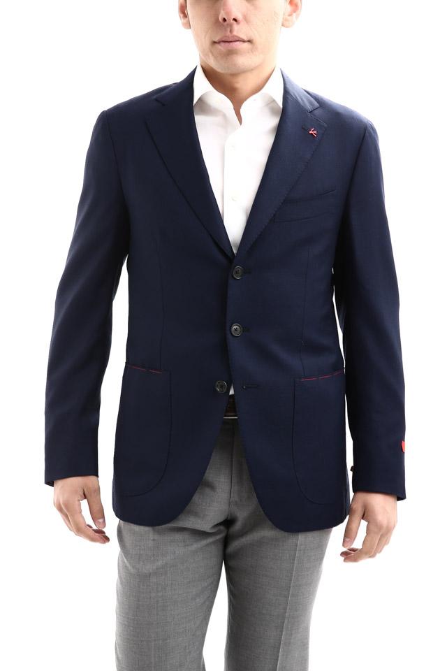 【ISAIA / イザイア】 SAILOR セイラー 130'S AQUA BLAZER FABRIC Wool 100%,LINING Cupro 100% ウール ホップサック アンコン 3Bジャケット 【NAVY / ネイビー・800】 Made in italy (イタリア製)