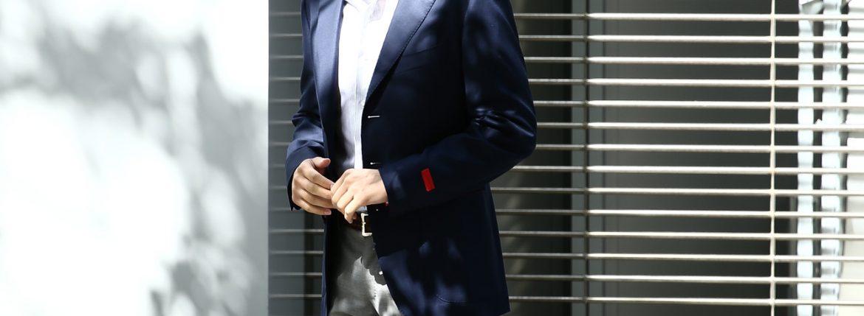 【ISAIA // イザイア】 SAILOR (セイラー) FABRIC (Wool 100%,LINING Cupro 100%) ウール ホップサック アンコン 3Bジャケット NAVY (ネイビー・800) Made in italy (イタリア製) 2017 春夏新作のイメージ