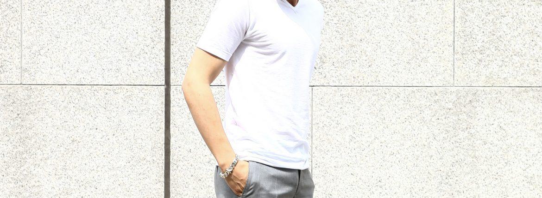 ZANONE (ザノーネ) V-neck T-shirt ice cotton アイスコットン 810237 Z0380 VネックTシャツ WHITE (ホワイト・Z0001)  MADE IN ITALY(イタリア製) 2017 春夏のイメージ