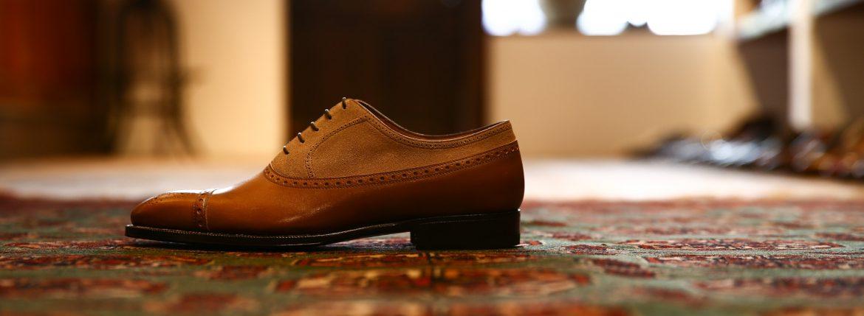 ENZO BONAFE(エンツォボナフェ) 【ART.EB-32】Punched Cap Toe 2tone Shoes パンチドトゥキャップ2トーンシューズ  ANILVEAU SUPERBUCK ドレスシューズ #60183×MILKSHAKE (ゴールド×ミルクシェーキ) made in italy (イタリア製)のイメージ
