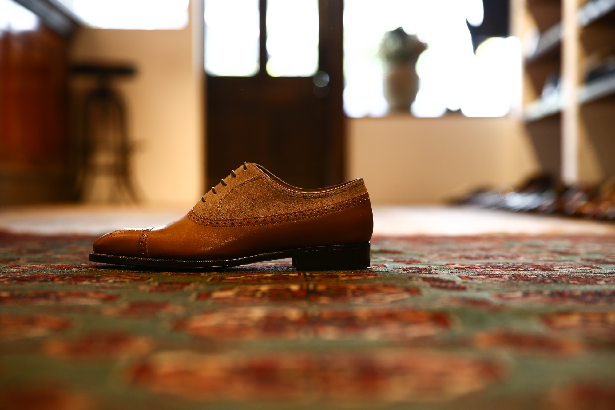 ENZO BONAFE(エンツォボナフェ) 【ART.EB-32】Punched Cap Toe 2tone Shoes パンチドトゥキャップ2トーンシューズ  ANILVEAU SUPERBUCK ドレスシューズ #60183×MILKSHAKE (ゴールド×ミルクシェーキ) made in italy (イタリア製) 2018年 春夏モデル enzobonafe エンツォボナフェ 愛知 名古屋 Alto e Diritto アルト エ デリット 2018年新作モデル 日本企画 木型 ダブルモンク コードバン