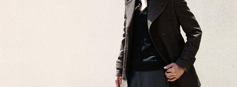 【GABRIELE PASINI / ガブリエレ パジーニ】 Pea coat ピーコート ウール オーバーコート ミドル丈 ダブルコート BROWN (ブラウン・438) Made in italy (イタリア製) 2017 秋冬のイメージ