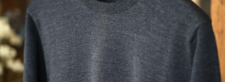 ZANONE (ザノーネ) Crew Neck Sweater (クルーネックセーター) VIRGIN WOOL 100% ヴァージンウール100% ハイゲージウールニットセーター CHARCOAL (チャコール・Z0006) made in italy (イタリア製) 2017 秋冬新作のイメージ