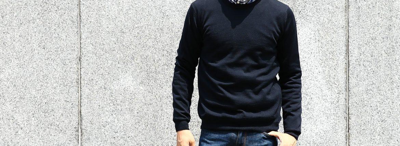 【ZANONE / ザノーネ】 Crew Neck Sweater クルーネックセーター VIRGIN WOOL 100% ヴァージンウール100% ハイゲージウールニットセーター NAVY (ネイビー・Z1375) made in italy (イタリア製) 2017 秋冬新作のイメージ
