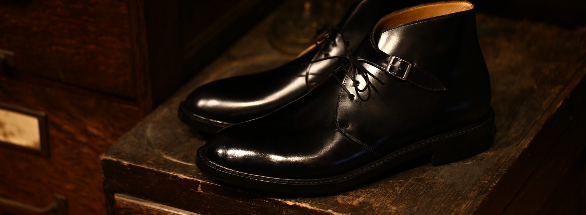 Cuervo (クエルボ)  【2017 AW NEW MODEL】Derringer (デリンジャー) 【CORDOVAN / コードバン】 Goodyear Welt Process Double Leather Sole  Chukkaboots BLACK MADE IN JAPAN 【Special Model 1st sample】のイメージ