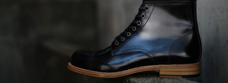 Cuervo (クエルボ) 【2017 AW NEW MODEL】 Romeo(ロメオ) 【CORDOVAN // コードバン】 Goodyear Welt Process グッドイヤーウェルト製法 Double Leather Sole ダブルレザーソール セミドレスブーツ レザーブーツ ドレスシューズ BLACK (ブラック・BK) MADE IN JAPAN(日本製) 【Special Model 1st sample】のイメージ