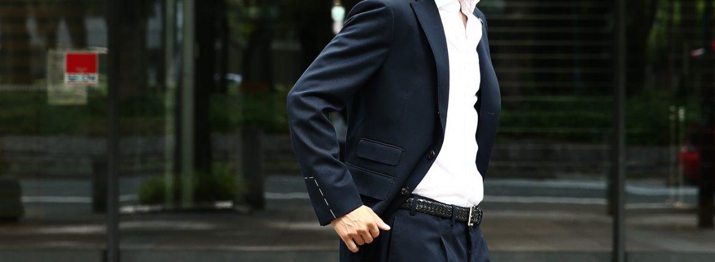 【GABRIELE PASINI // ガブリエレ パジーニ】 MONTECARLO モンテカルロ カルゼ生地 3ボタン段返り ワンプリーツ スーツ NAVY (ネイビー・860) 2017秋冬新作のイメージ