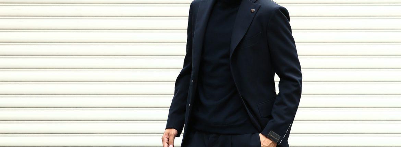 【GABRIELE PASINI / ガブリエレ パジーニ】 MONTECARLO モンテカルロ カルゼ生地 3ボタン段返り ワンプリーツ スーツ NAVY (ネイビー・860) 2017秋冬新作のイメージ