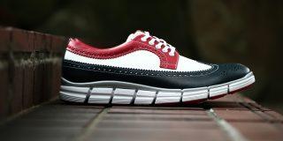 【HIROSHI TSUBOUCHI / ヒロシツボウチ】 HTO-AD05 Wingtip Sneakers トリコロールカラー Calf Leather カーフレザー ウィンングチップ スニーカー NAVY / WHITE / RED (ネイビー / ホワイト / レッド・NV/WH/RE) Made in Japan (日本製) 2017 秋冬新作 hiroshitsubouchi ヒロシツボウチ 木梨則武 ノリさん C.ロナウド クリスティアーノロナウド トリコカラー とんねるずのみなさんのおかげでした トリコロール