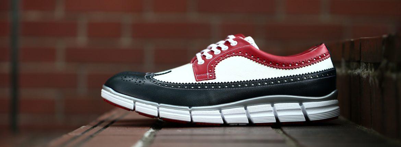 【HIROSHI TSUBOUCHI / ヒロシツボウチ】 HTO-AD05 Wingtip Sneakers トリコロールカラー Calf Leather カーフレザー ウィングチップ スニーカー NAVY / WHITE / RED (ネイビー / ホワイト / レッド・NV/WH/RE) Made in Japan (日本製) 2017 秋冬新作のイメージ